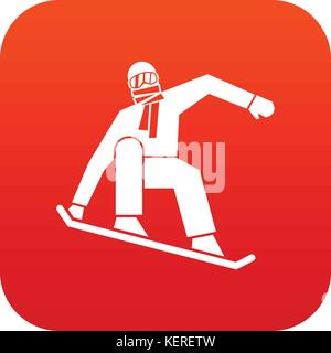 Snowboarder icon digital red - Stock Photo