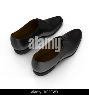 Male leather shoes isolated on a white, 3D illustration - Stock Photo