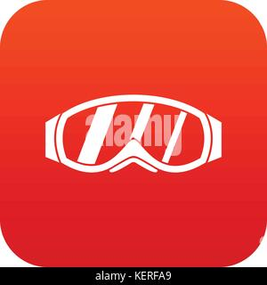 Glasses for snowboarding icon digital red - Stock Photo