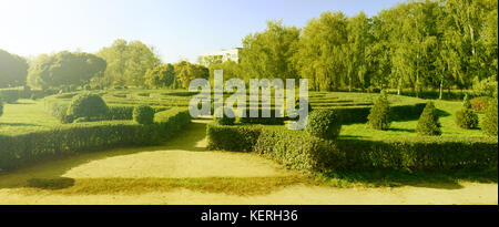 Panoramic picture of green bushes maze in European park. Garden Maze - Stock Photo