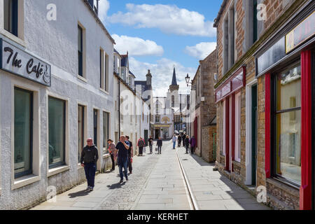 Shops on Victoria Street in the town centre, Stromness, Mainland, Orkney, Scotland, UK - Stock Photo