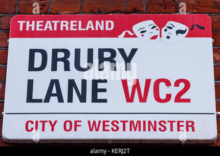 England, London, Westminster, Drury Lane Street Sign - Stock Photo
