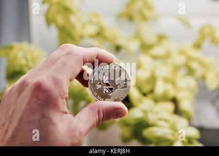 Physical metal brexit coin with map of england. Brexit concept. Europe leaving. - Stock Photo