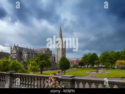 Garden of St Patrick's Cathedral, founded 1191, Dublin City, Ireland - Stock Photo