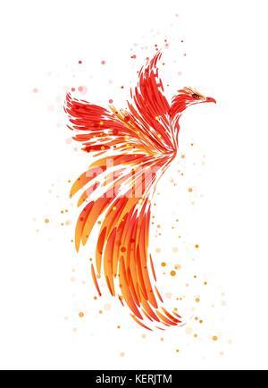 Flaming Phoenix on white background, burning mythical bird - Stock Photo