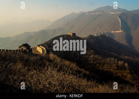 asia cina beijing travel Great Wall of Mutianyu landscape - Stock Photo