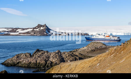 Blue antarctic cruise ship in the lagoon and Gentoo penguins colony on the rocky shore of the Barrientos Island, - Stock Photo