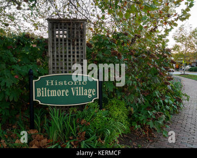 Historic Biltmore Village sign, Asheville, North Carolina. - Stock Photo