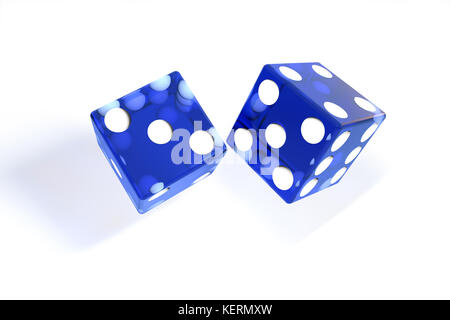 3d illustration: quality rendering image of transparent blue rolling dices with dots. The cubes in the cast. throws. - Stock Photo