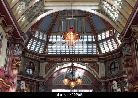 LONDON, UK - MAY 24, 2010: Interior of Leadenhall Market on Gracechurch Street. Leadenhall Market - is one of the - Stock Photo