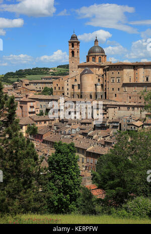 View of Urbino, with the Ducal Palace, Palazzo Ducale and the Cathedral, Marche, Italy - Stock Photo