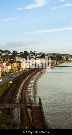 Dawlish seafront showing the railway - Stock Photo