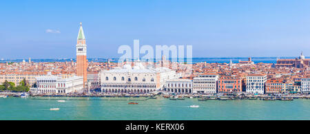VENICE ITALY VENICE panorama of venice skyline from  the santa maria della salute church Venice to doges palace - Stock Photo