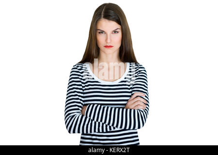 Young serious angry woman portrait on a white background - Stock Photo