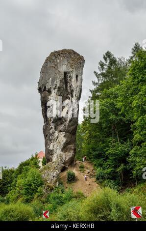PIESKOWA SKALA, POLAND - AUGUST 13, 2017: Hercules Mace and castle in Pieskowa Skala, Poland. - Stock Photo