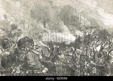 Defence of the Chateau De Hougoumont, Battle of Waterloo, 18 June 1815 - Stock Photo