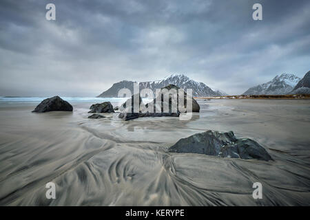 Beach of fjord in Norway - Stock Photo