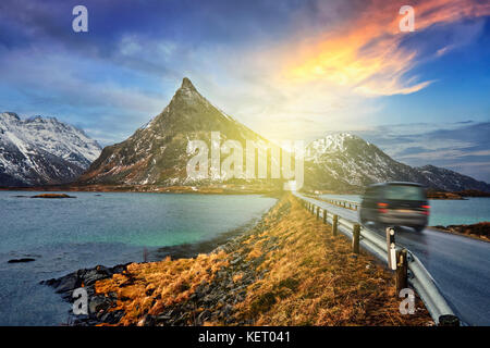 Car on road in Norway - Stock Photo