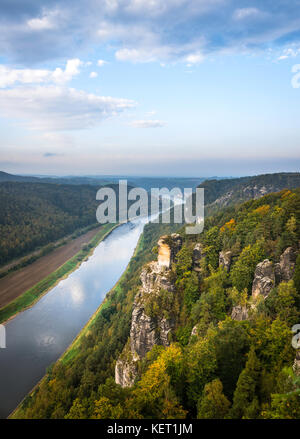 View from the Bastei to the Elbe River, Elbe Valley, Elbe Sandstone Mountains, Rathen, Saxon Switzerland National - Stock Photo