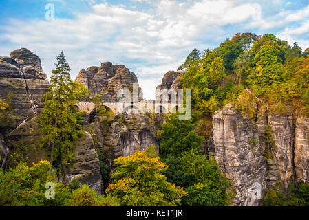 View of Bastei bridge, Bastei, Elbe Sandstone Mountains, Rathen, National Park Saxon Switzerland, Saxony, Germany - Stock Photo
