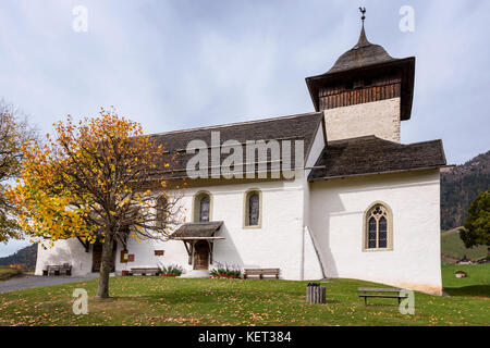 The church of Chateau-D'Oex, Vaud, Switzerland - Stock Photo