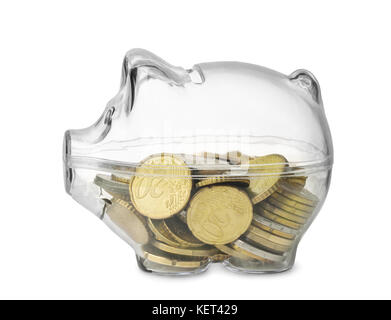Side view of transparent piggy bank with euro coins isolated on white - Stock Photo