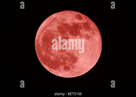 Full Blood moon on the dark night - Stock Photo