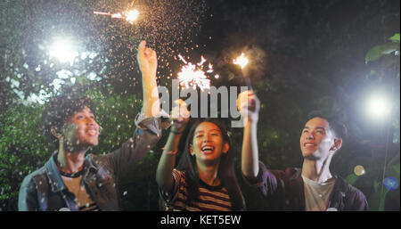 Asian group of friends having outdoor garden barbecue laughing with alcoholic beer drinks and showing group of friends - Stock Photo