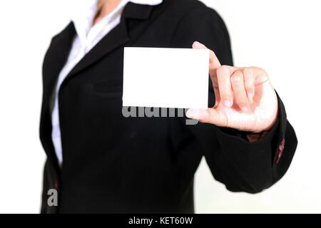 businesswoman asia holding and shown a business card on white background - Stock Photo