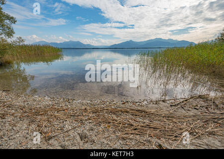View of the Alps from the Herreninsel in the Chiemsee at Paul's rest - Stock Photo