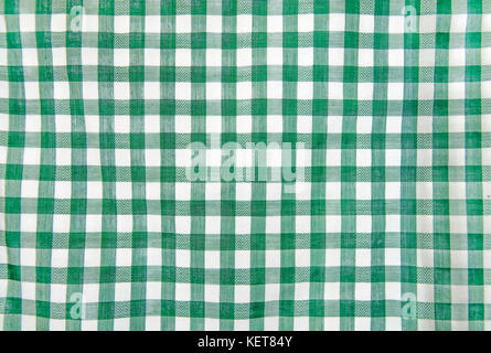 Cheerful in green and white classic rustic traditional gingham pattern - Stock Photo