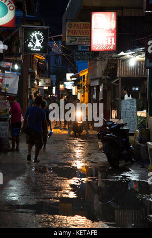 Night scene during rainy season in El Nido, Palawan - Stock Photo