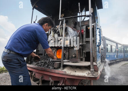 Man repairs the engine of the historical Himalayan Railway also known as Toy Train Darjeeling India West Bengal - Stock Photo