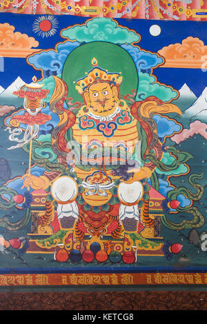 Details of the colorful paintings in Taktsang Palphug Monastery (Tiger's Nest) Paro valley Bhutan Asia - Stock Photo