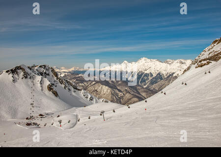 Winter mountain landscape - ski resort in Sochi, Russia - Stock Photo
