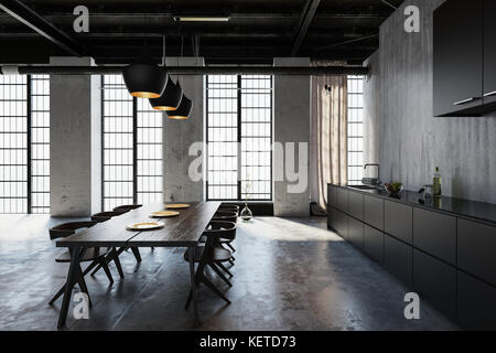 Wooden table with chairs in loft style cold kitchen - Stock Photo
