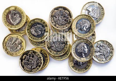 2017 new British one pound coins - Stock Photo