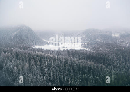 Mountain forest covered with low clouds captured from above with a drone. - Stock Photo