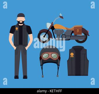 motorcyclist and classic yellow motorcycle with jacket and helmet in blue background - Stock Photo