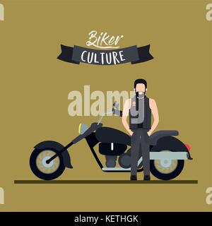 biker culture poster with man and classic motorcycle with long telescopic fork and black fuel tank and olive color - Stock Photo