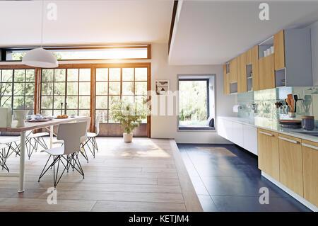 modern kitchen interior. 3d rendering concept - Stock Photo