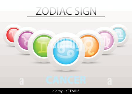 Horoscope astrology zodiac sign symbol of Cancer on sequence with 3d simple white button paper and shadow drop in - Stock Photo