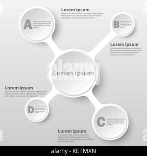 White simple 3d paper circle on chart for website presentation cover poster vector design infographic illustration - Stock Photo