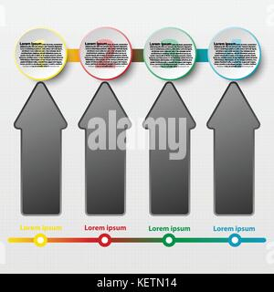 Coloful paper circle with arrow and stone mile for website presentation cover poster vector design infographic illustration - Stock Photo