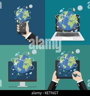 Global network connection technology. Vector illustration - Stock Photo