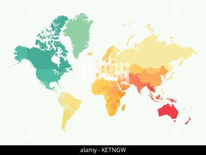 High detail vector illustration of the world map with political high detail world map with color all elements are seperated in editable layers vector gumiabroncs Gallery