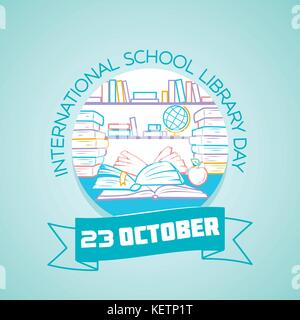 Calendar for each day on october 23. Greeting card. Holiday -  International School Library Day. Icon in the linear - Stock Photo