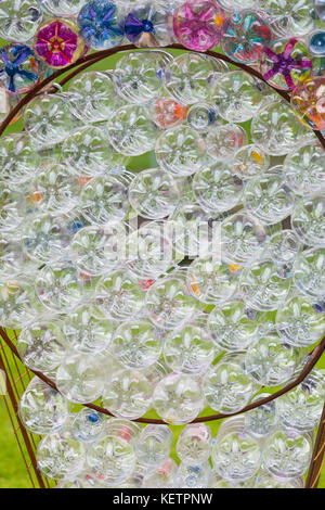 Upcycling plastic bottles at Bournemouth - part of Turning the Tide display by Mick Stephenson at Bournemouth Arts - Stock Photo