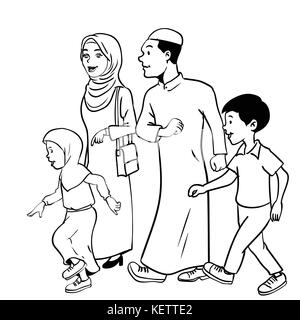 Happy Muslim Family With Father Mother And Son Woman Wearing Hijab Simple Line Cartoon Illustration Stock Vector Image Art Alamy