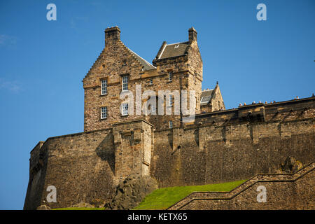 City landmark historic fortress which dominates the skyline on a sunny day  Edinburgh Castle south in  Scotland - Stock Photo